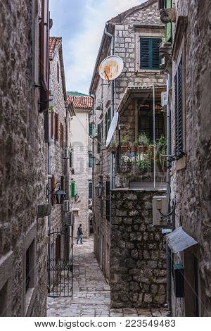 Tenement houses on the historical Old Town of Kotor in Montenegro