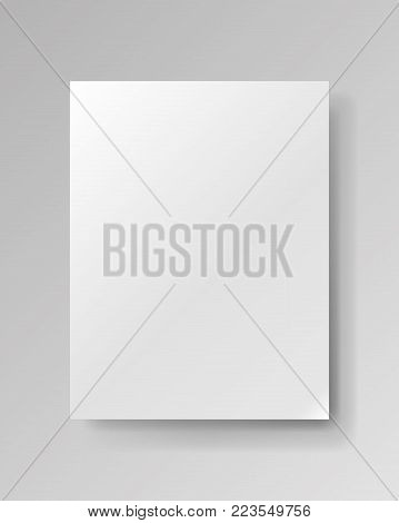 Realistic empty rectangular white piece of paper on gray background, light sheet, object for your creative project, mock-up sample, vector design object