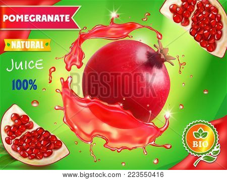 Pomegranate juice package design, delicious juice and fruit in red juice ads, 3d illustration