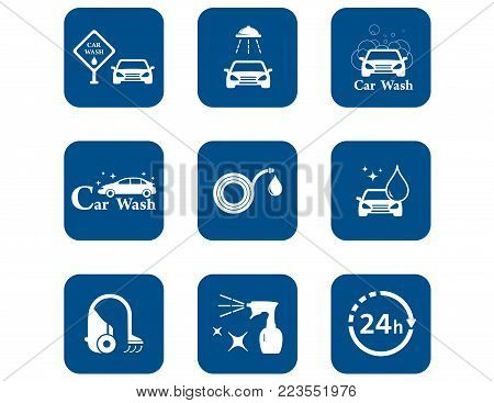 isolated car wash blue icons set for car wash concept