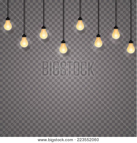 Glowing Lights For Holidays. Transparent Glowing Garland. White Glowing Lights For Greeting Card Des