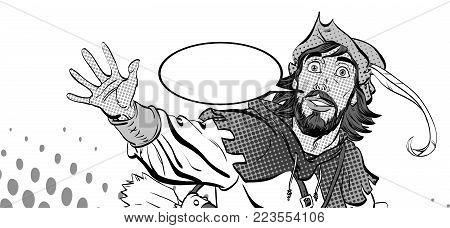 Amazed Robin Hood. Wondering Robin Hood. Robin Hood. Robin Hood in a hat with feather. Young soldier. Noble robber. Defender of weak. Medieval legends. Heroes of medieval legends.