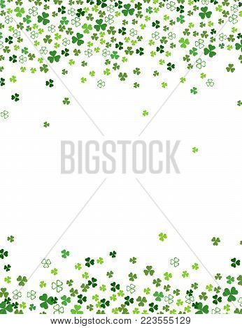 Clover shamrock leaves isolated on white background. Abstract St. Patrick's day border background with place for your text. Vector flat illustration for your greeting cards design or poster