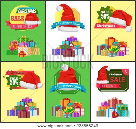 Winter holiday sale with half price reduction promotional posters templates with bright boxes with bows on top and gifts inside, vector illustrations.