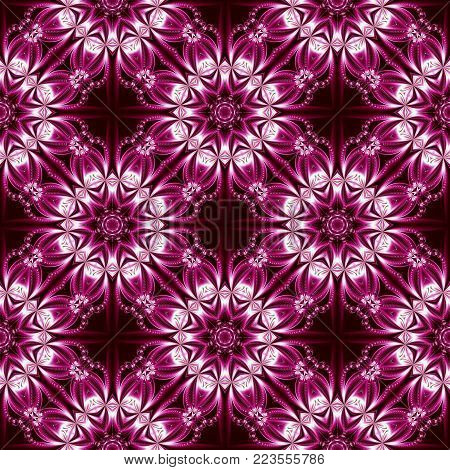 Seamless pattern with floral circle ornament. You can use it for invitations, notebook covers, phone case, postcards, cards, ceramics, carpets. Artwork for creative design.