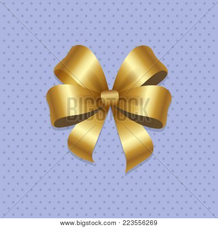 Golden bow knot with four loops vector illustration decorative element isolated on grey dotted background. Satin gold ribbon, silk tape for your design