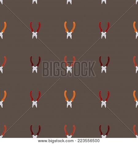 Seamless pattern background of building concept. Vector pliers. Repair tools.