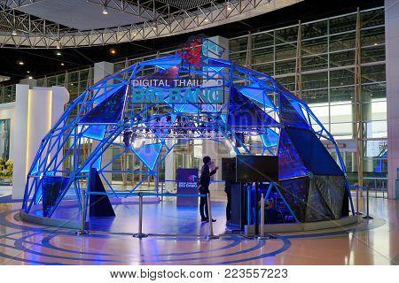 Nonthaburi, Thailand - September 24, 2017 : Geodesic dome is interior design of hallway in Digital Thailand BIG BANG 2017 exhibition at Challenger hall, IMPACT Muang Thong Thani, Nonthaburi, Thailand.