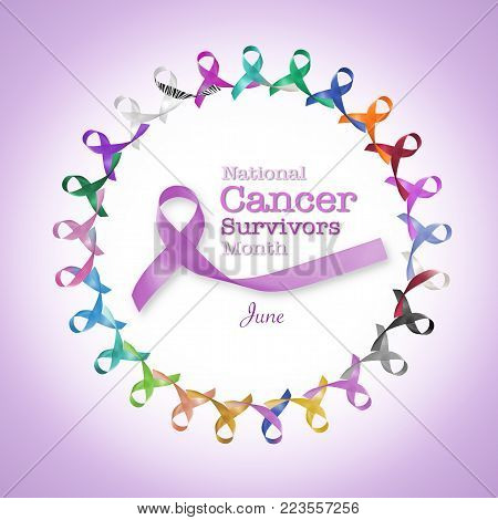 National Cancer Survivors Day, June 5 With Multi-color And Lavender Purple Ribbons Raising Awareness