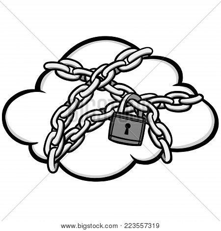 Cloud Security Lock Illustration - A vector cartoon illustration of a Cloud Security Lock concept.