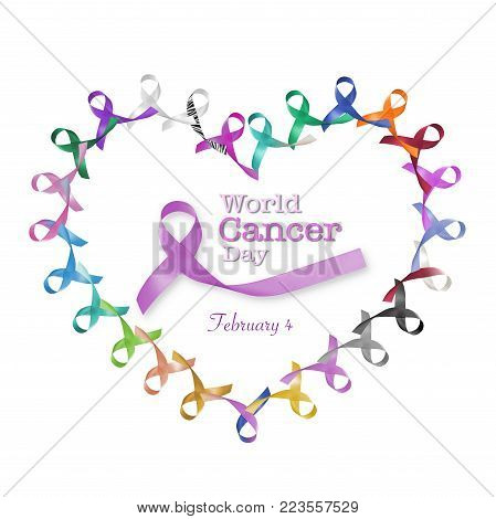 World cancer day February 4  in heart cycle of multi-color & lavender purple colour  ribbons for all kinds of cancer awareness camapign