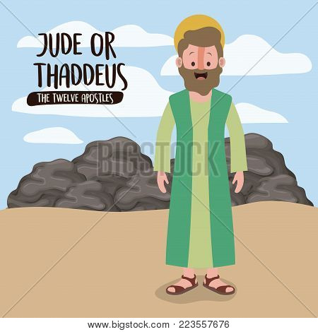 the twelve apostles poster with thaddeus in scene in desert next to the rocks in colorful silhouette vector illustration