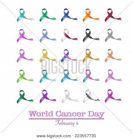 World cancer day, February 4 announcement among multi-color ribbons for raising awareness of all kind tumors
