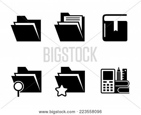 isolated office or computer folder, organizer and book black icons set