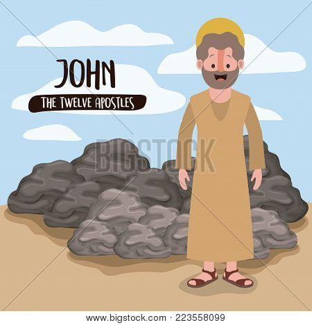 the twelve apostles poster with john in scene in desert next to the rocks in colorful silhouette vector illustration