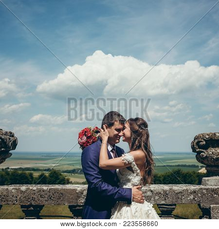 Sensitive romantic portrait of the beautiful happy newlyweds tenderly rubbing noses at the background of the view of the nature in spring poster