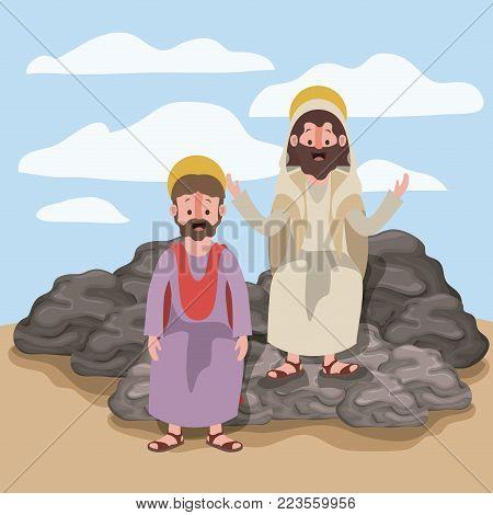 jesus the nazarene and matthew in scene in desert sitting on the rocks in colorful silhouette vector illustration