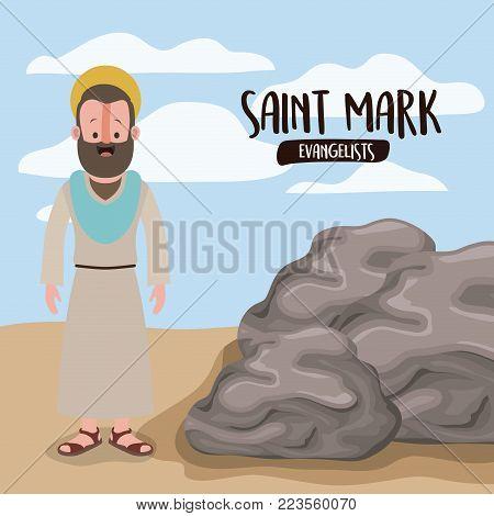 the evangelist saint mark in scene in desert next to the rocks in colorful silhouette vector illustration