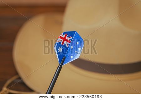 Anzac Army Slouch Hat With Australian Flag On Vintage Wood Background