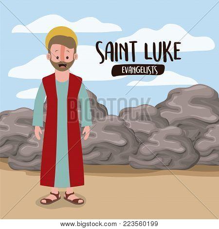 the evangelist saint luke in scene in desert next to the rocks in colorful silhouette vector illustration