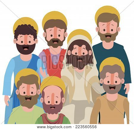 group of apostles in colorful silhouette over white background vector illustration