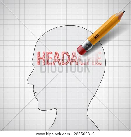 Pencil Erases The Word Headache In The Human Head. Medicine And Health. The Cure For Migraine And St