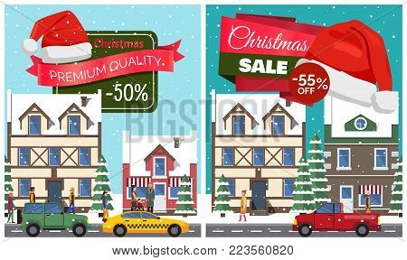 Christmas sale set of posters with stickers and hat of Santa Claus, buildings and riding cars, walking people and trees, vector illustration