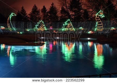 Loch Ness monster themed light display beside seal exhibit, Lincoln Park Zoo Lights, Chicago, IL December 13th, 2017