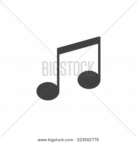 Musical note icon vector, filled flat sign, solid pictogram isolated on white. Music notes symbol, logo illustration.