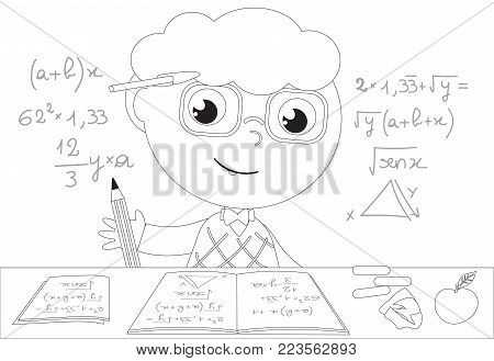 Cartoon smart boy with mind full of maths equations. Vector black and white illustration
