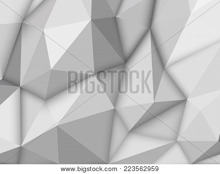 White abstract low-poly, horizontal polygonal triangular mosaic background for design concepts, posters, banners, web, presentations, prints. Vector illustration. Realistic 3D render design template.