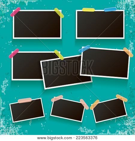 Set of vintage photo frame with shadow isolated on old vintage azure wall. Vector Photo realistic Mockups with empty space for photo. old aged photo collection