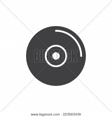 Compact disc icon vector, filled flat sign, solid pictogram isolated on white. CD or DVD symbol, logo illustration.