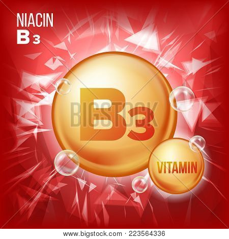 Vitamin B3 Niacin Vector. Vitamin Gold Oil Pill Icon. Organic Vitamin Gold Pill Icon. Medicine Capsule, Golden Substance. For Beauty, Cosmetic, Heath Promo Ads Design. Vitamin Complex. Illustration