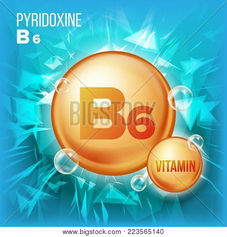 Vitamin B6 Pyridoxine Vector. Vitamin Gold Oil Pill Icon.Organic Vitamin Gold Pill Icon. For Beauty, Cosmetic, Heath Promo Ads Design. Vitamin Complex With Chemical Formula. Illustration
