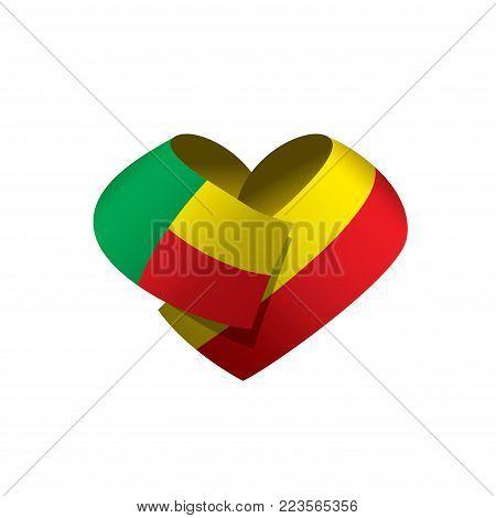 Benin flag, vector illustration on a white background