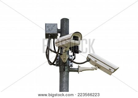 CCTV security camera, Closed circuit television isolated on white background