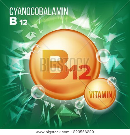 Vitamin B12 Cyanocobalamin Vector. Vitamin Gold Oil Pill Icon. Organic Vitamin Gold Pill Icon. For Beauty, Cosmetic, Heath Promo Ads Design. Vitamin Complex With Chemical Formula. Illustration