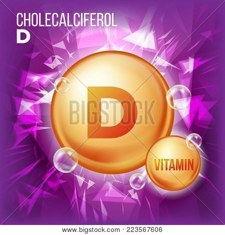 Vitamin D Cholecalciferol Vector. Vitamin Gold Oil Pill Icon. Organic Vitamin Gold Pill Icon. 3D Vitamin Complex Formula. Illustration