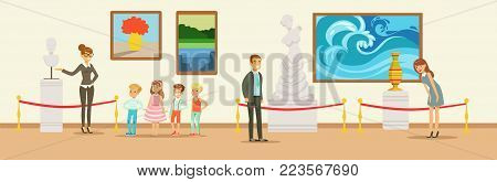 Museum visitors looking at classical work of art, museum guide telling children about marble bust, people viewing museum exhibit horizontal vector Illustration