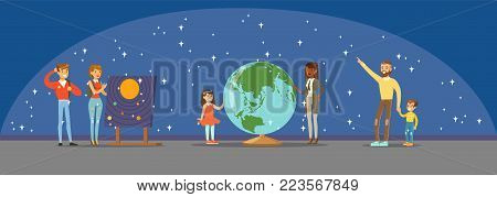 People learning about the stars, planets and the solar system at the planetarium horizontal vector Illustration