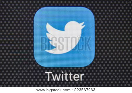 Sankt-Petersburg, Russia, January 25, 2018: Twitter application icon on Apple iPhone 8 smartphone screen close-up. Twitter app icon. Twitter is an online social networking service. Macro shot