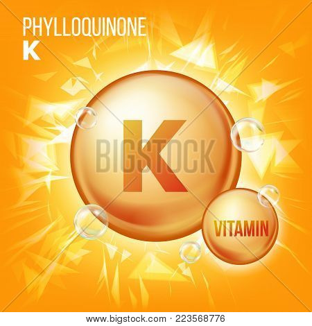 Vitamin K Phylloquinone Vector. Vitamin Gold Oil Pill Icon. Organic Vitamin Gold Pill Icon. For Beauty, Cosmetic, Heath Promo Ads Design. Chemical Formula. Illustration