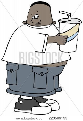 Illustration of a chubby black kid holding a giant soda in a cup with a straw.