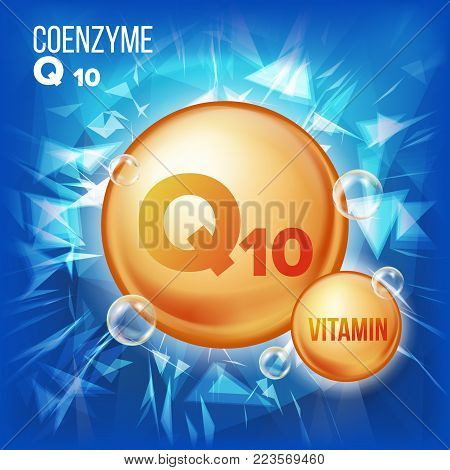 Vitamin Q10 Coenzyme Vector. Organic Vitamin Gold Pill Icon. Medicine Capsule, Golden Substance. For Beauty, Cosmetic, Heath Promo Ads Design. 3D Vitamin Complex Chemical Formula. Illustration