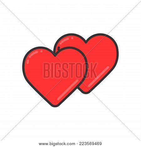 Two hearts line icon, vector simple heart symbol or love sign. Linear color logo element for wedding.