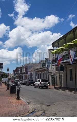 New Orleans, Louisiana - June 18, 2014: View of a street in the French Quarter in the city of New Orleans, Louisiana, USA