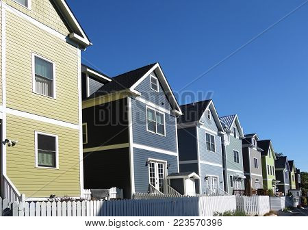 Brightly colored new homes near downtown in Raleigh, North Carolina