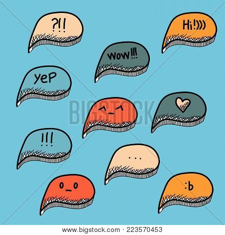 Trendy speech bubbles set in doodle design with short messages.