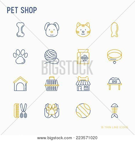 Pet shop thin line icons set: cat, dog, collar, kennel, grooming, food, toys. Modern vector illustration.